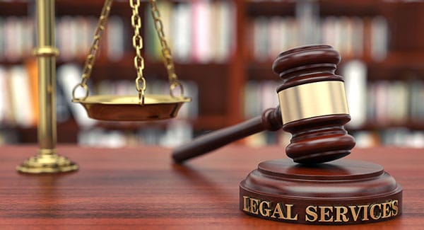 Legal services sound block with gavel