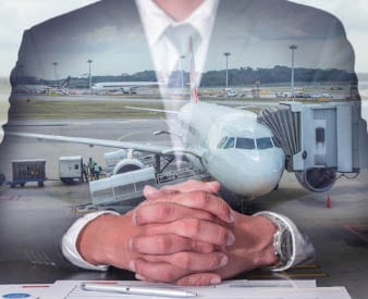 Plane imposed over man in suit