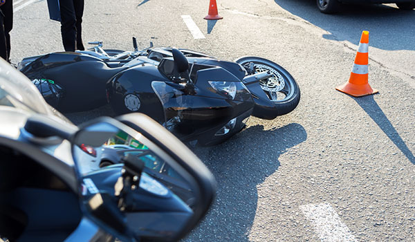 Motorcycle on highway after an accident