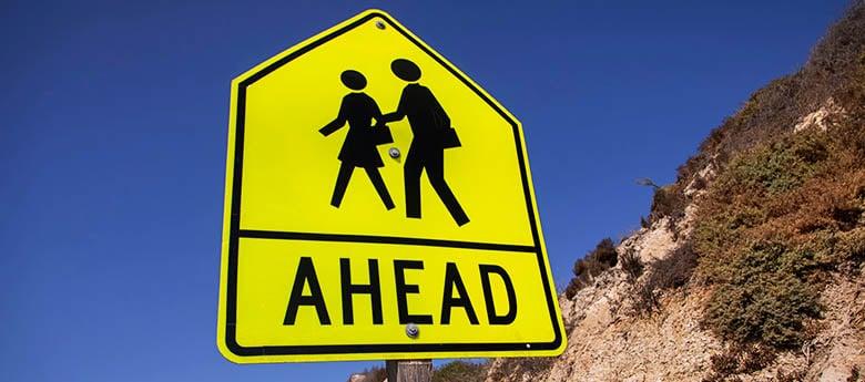 Crosswalk Ahead sign along California's Pacific Coast Highway
