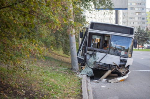 Bus crashed into a pole
