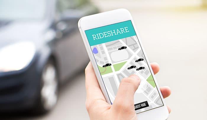 Rideshare application on phone