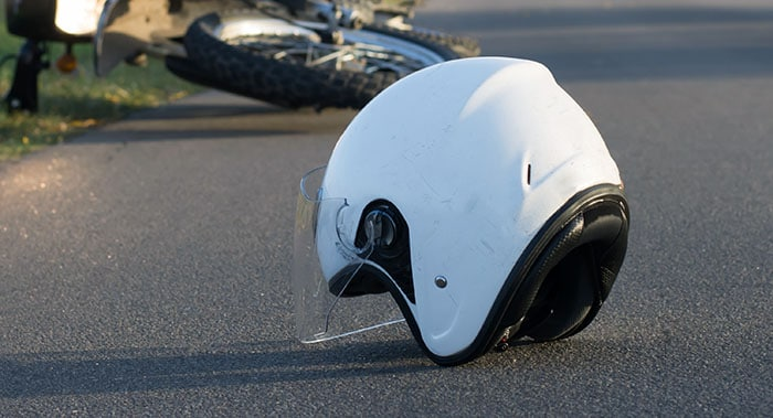 Motorcycle helmet on the road