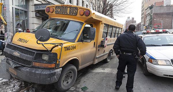Bus on sidewalk