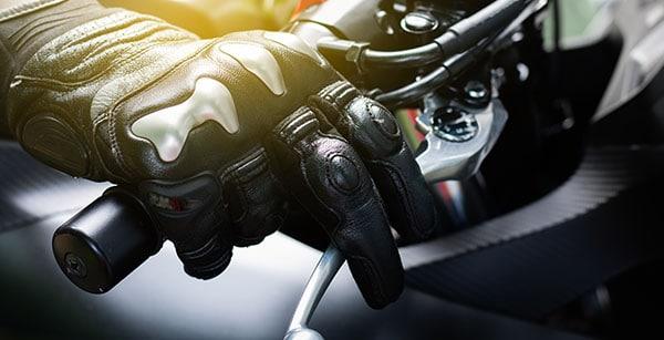 Motorcycle rider hitting the handbrake