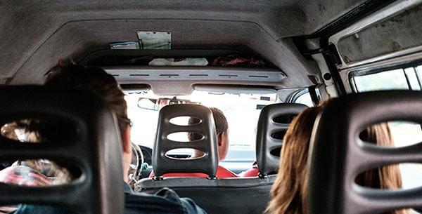 Passengers in rideshare vehicle