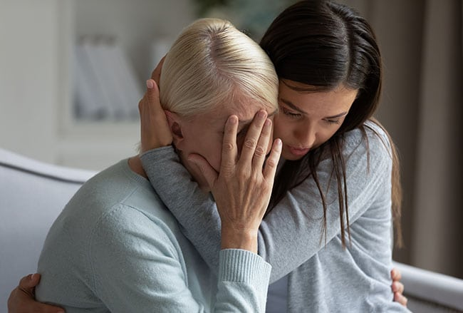 Family members grieving
