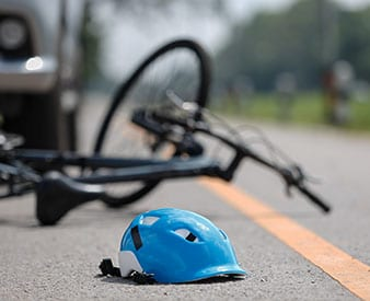 Bicycle on ground after collision