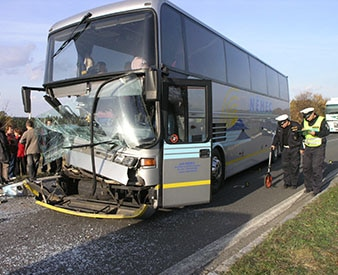 Smashed bus after accident