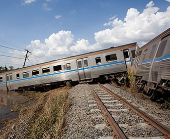 Train off the rails after accident