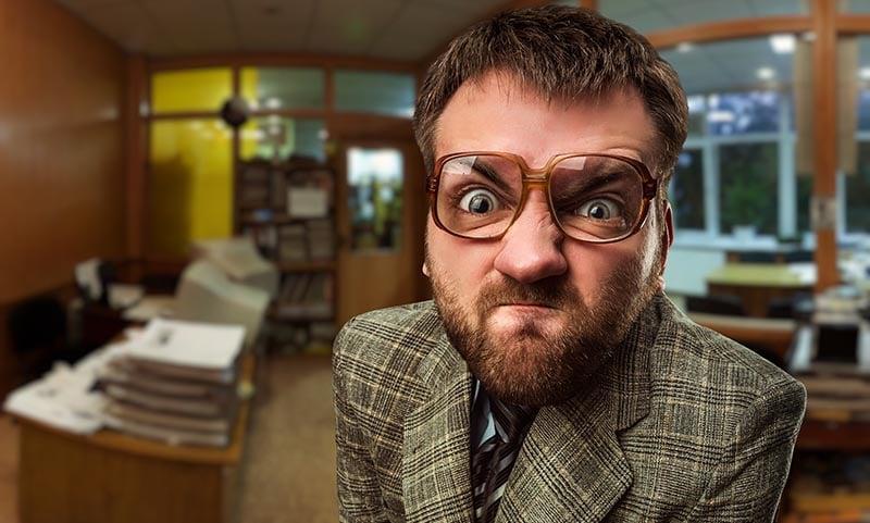 Angry boss retaliating against employee