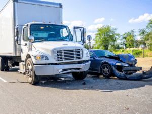 Semi-truck and car accident