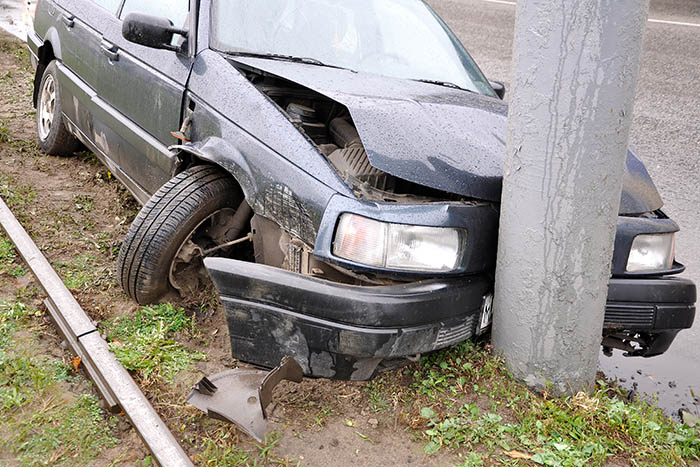 Wrecked car after single-vehicle accident