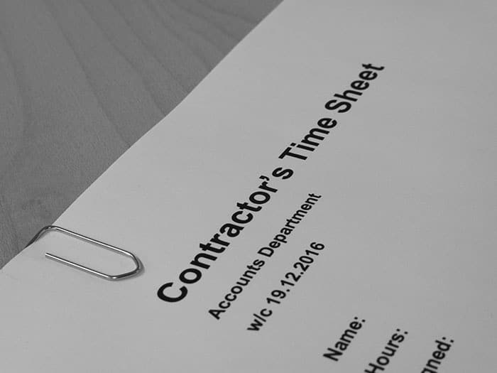 Independent contractor's time sheet